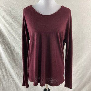 WHBM Wine Long Sleeve Open Back Sweater Blouse